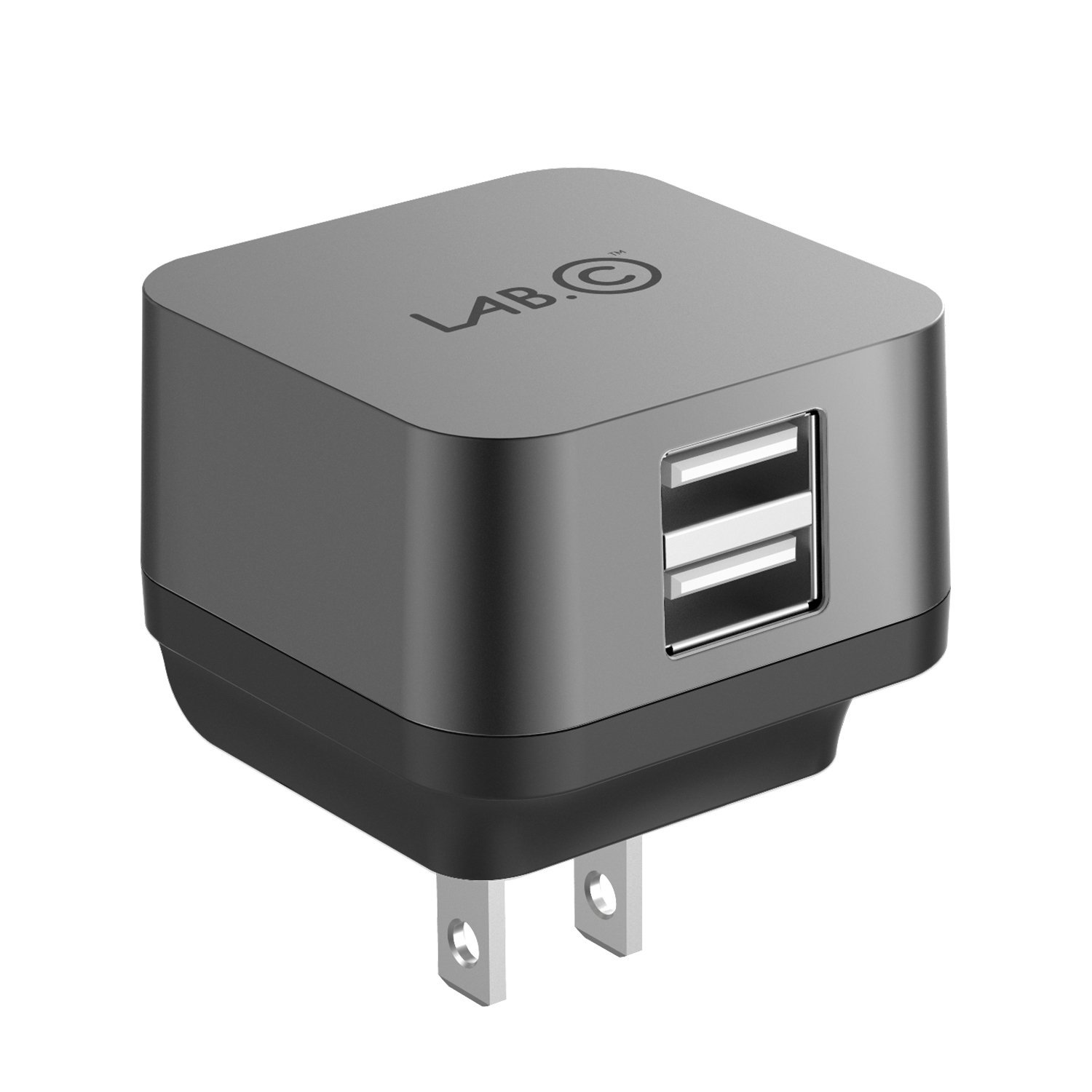 X2, 2Port USB Wall Charger, Rapid charging [Smart IC Technology][2.4A] 2-Port Foldable Travel Wall Charger with Quick charge for Apple, Samsung, Android Devices & More(LABC-593-GR)