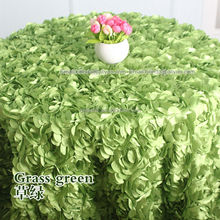 satin rosette embroidery fabric for wedding decoration