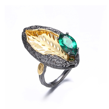 New Design Spinel 925 Sterling Silver Unisex Gold Plated Ring Jewelry
