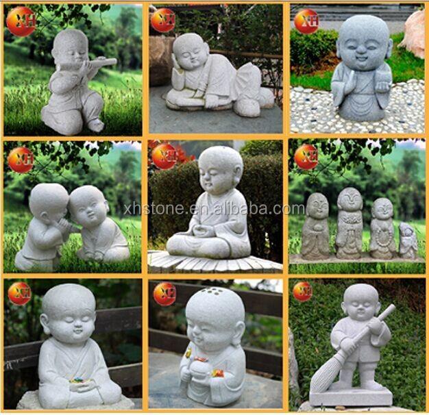 Laughing Buddha Garden Statues Cute Little Monk Stone