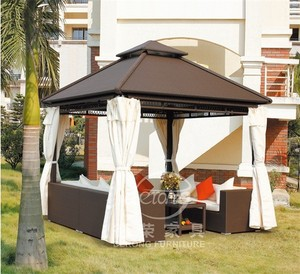 Garden furniture set 9 square meters PE rattan outdoor gazebo with UV proof curtain and sofa set DR-1102