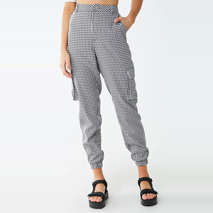 Zipped fly belted loops front slanted pockets allover gingham women cargo joggers plaid pants