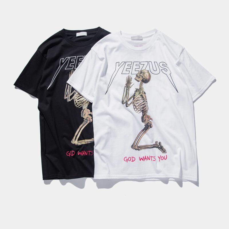9f97561e6f4f Yeezus Tour Kanye West t shirt Merch Indian Headdress Skull Red Letter  short sleeve t shirt