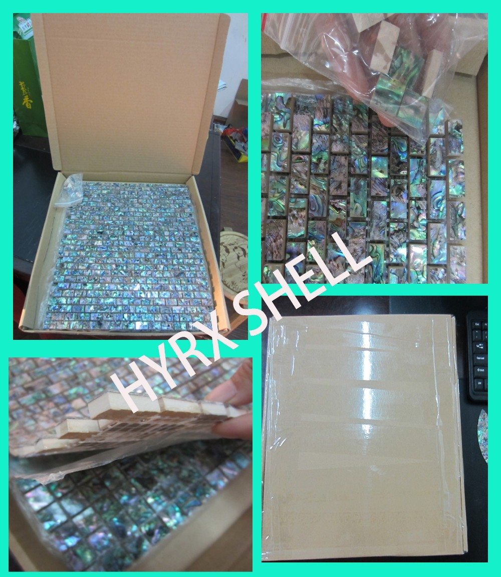 2019 Green Abalone Shell Mosaic Tile On Mesh With Ceramic