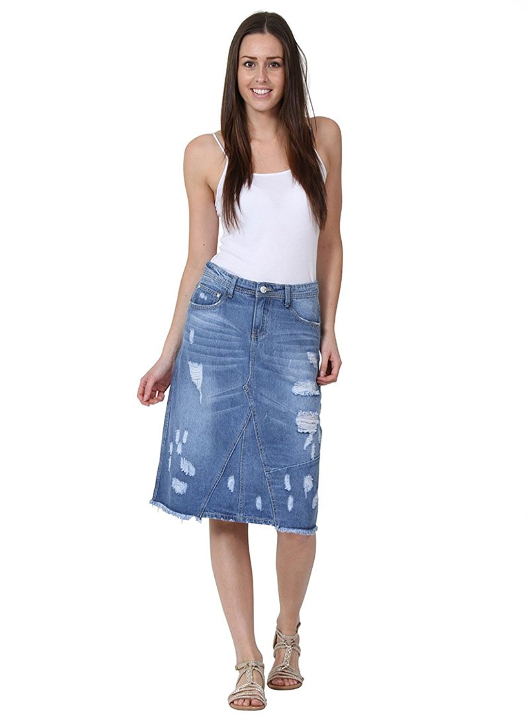 3a1514505 Get Quotations · Simply Chic Mid-length Distressed Denim Skirt Destroyed  Denim Midi Skirt Frayed Hem