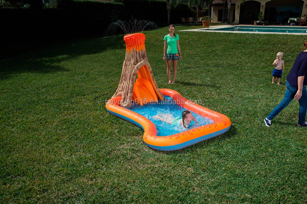 volcano splash island swimming pool cheap pvc inflatable activity swimming pool play pool
