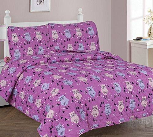 Elegant Home Cute Girls Owl Owls Multicolor Pink 3 Piece Full Size Coverlet Bedspread Quilt for Kids Teens / Girls # Owl (Full)