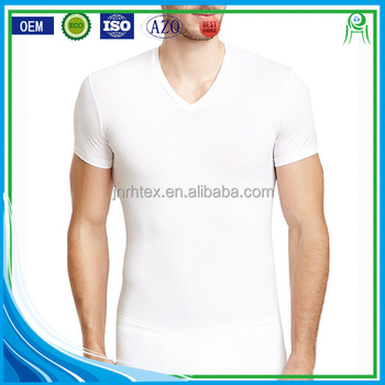 China Factory Custom V Neck Plain White Organic Cotton T Shirts ...