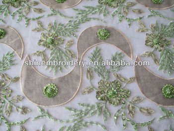 Fancy New Embroidery Design Fabric,Green Tulle With Hand ...