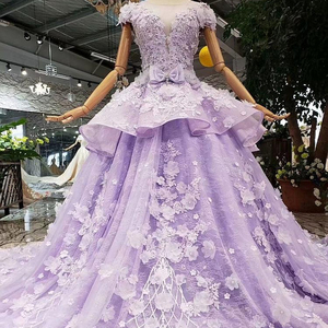 2019 New Purple Eppliqued Beading Crystal Beading Sequined Sashes With Bow Ruffles Ball Gown Bridal Elegent Wedding Dress