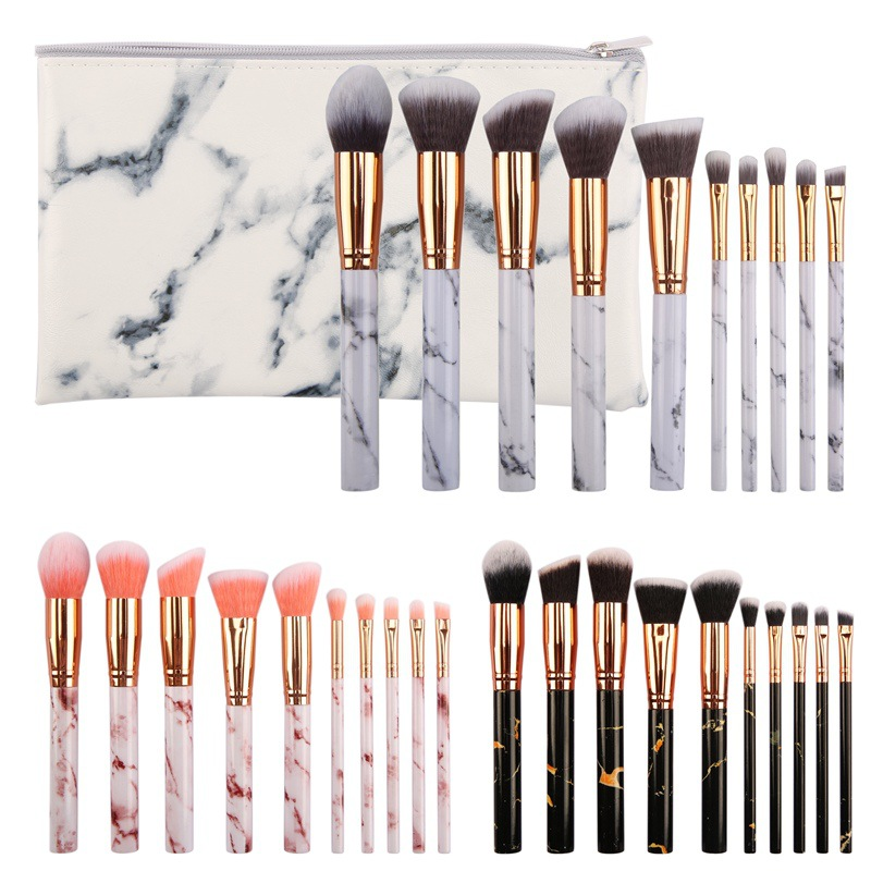 15 stücke Marmorierung Griff Make-Up Pinsel Set + Kosmetiktasche Foundation Puder Erröten Concealer Pinsel Premium Augen Make-Up Pinsel
