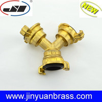 Brass Garden coupling pipe Y connector garden brass fitting for garden hose Y adapter 3 way coupler