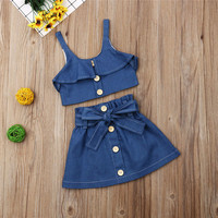 Girl summer clothing sets fashion Jeans outfits sleeveless Denim + skirt 2pcs kid girl clothes sets