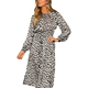 women leopard print ankle length dress Elastic waist long sleeve retro ladies casual chic dresses
