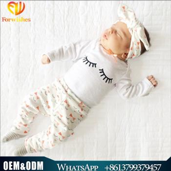Wholesale Newborn Baby Clothes Long Sleeve Spring Fall Season Eyelash Printed Infant Toddler 3pcs Sets Kids Girls Boys Clothing Buy Kids Trendy