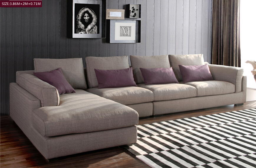 Goose feather padded modern fabric sofa set designs salon for Sofa en l liquidation