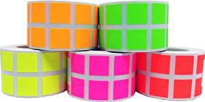 "1/2"" Color Coding Labels Fluorescent Bulk Half Inch Square - 1 Roll Each: Fl Green, Fl Red, Fl Yellow, Fl Pink, Fl Orange - 5,000 Total Stickers"