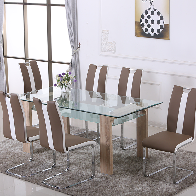 Rectangle Tempered Glass Top Wood Leg Ding Table Dining Room Set - Buy  Dining Table,Tempered Glass Dining Table,Wood Leg Tempered Glass Dining  Table ...