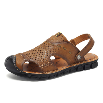 b1a7ddf75cb Men Leather Sports Sandals Summer Outdoor Closed Toe Breathable Walking  Beach Sandals Fisherman Sandals