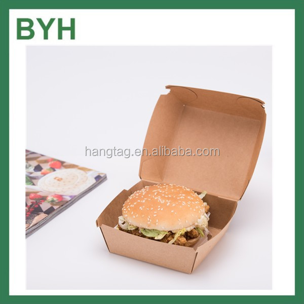 Disposable kraft paper burger box/paper meal boad tray box/bento box hamburger packaging