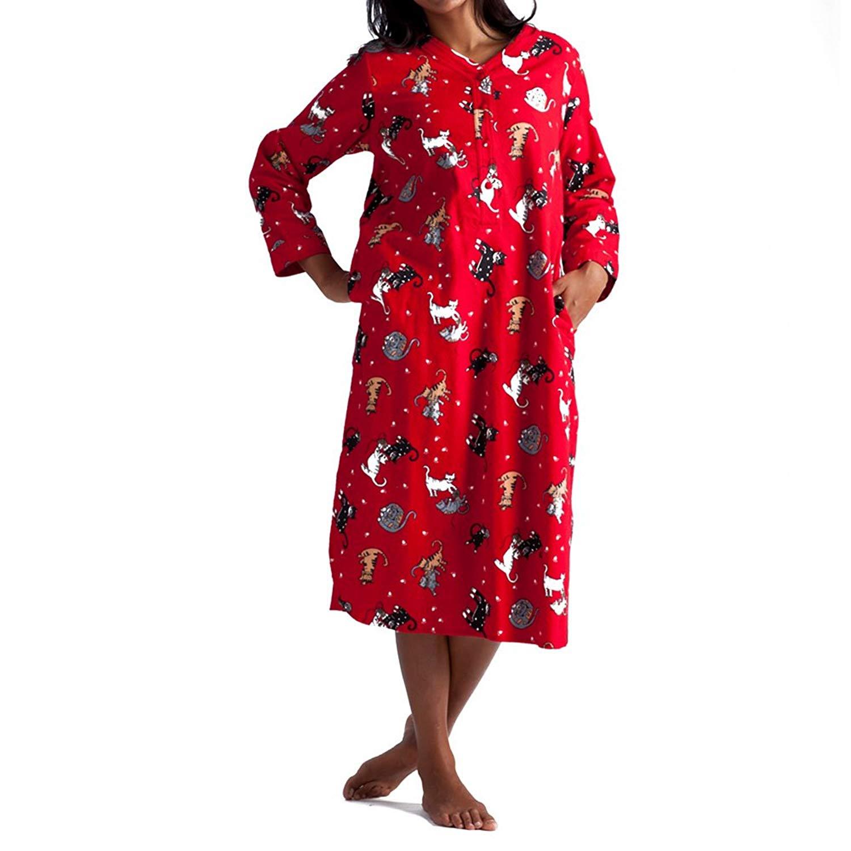 Get Quotations · La Cera Women s Plus-Size Flannel Nightshirt 481df2119