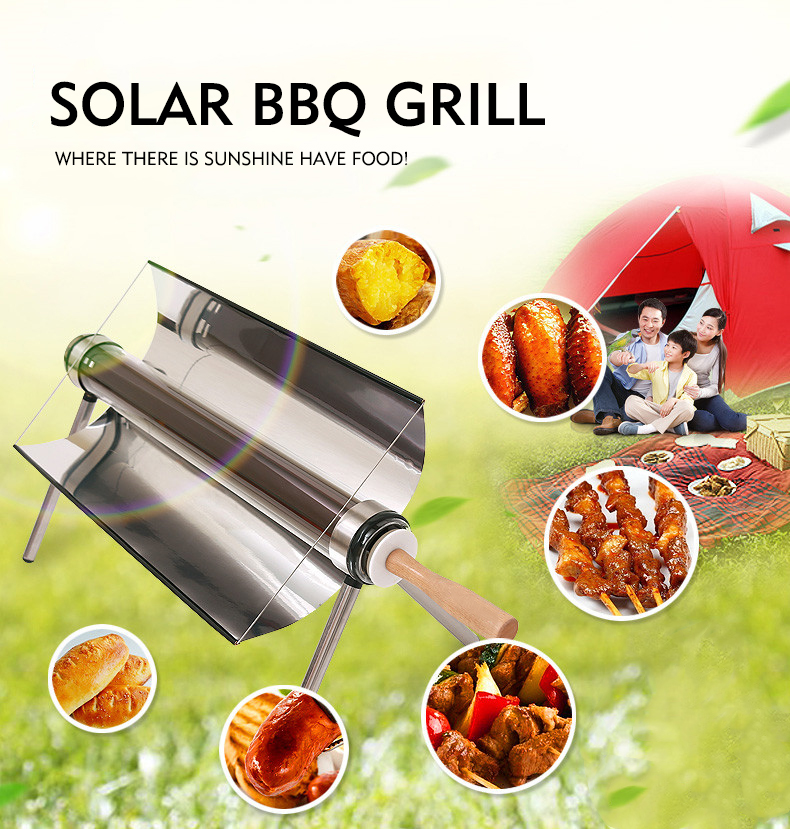 Portable Solar Powered Cooker Vacuum Tube Camping BBQ Grills Stove Solar Rice Cooker Brand New Barbecue Solar Energy Oven 1L
