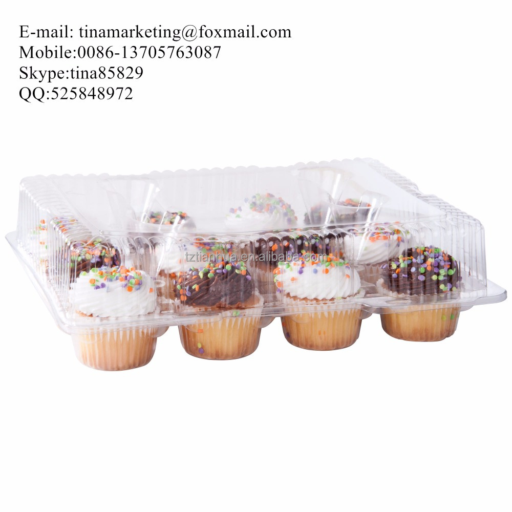 12 Unit Clear BOPS Material Plastic Hinged Cupcake / Mini Muffin Container Clamshell Type