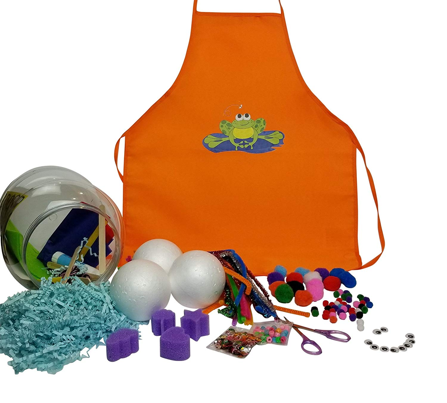 Kids Apron Craft Supplies In Jar Pipe Cleaners Googly Eyes Pom Poms Beads Popsicle Sticks