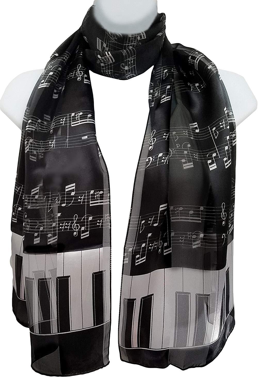ii.. Silk Feel Scarf - Piano Keys & Sheet Music White on Black
