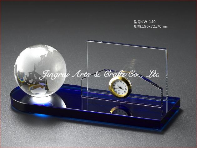 crystal business globe handshake name card holder gifts office