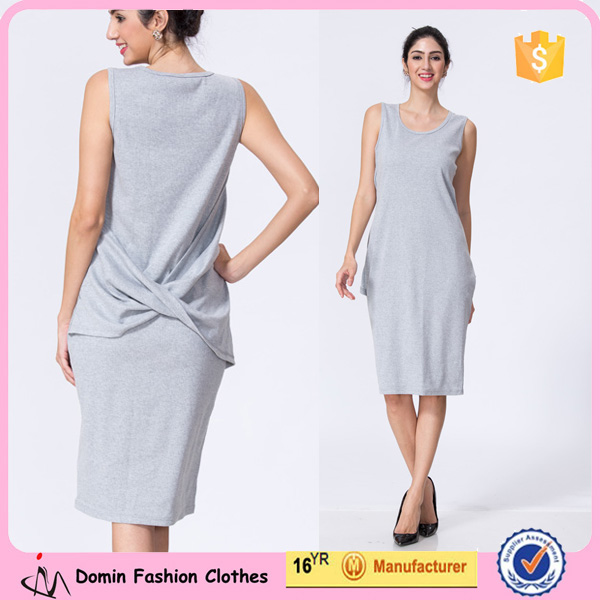 New Design Women Clothing Manufacturers Petite Knot Back Midi Dress