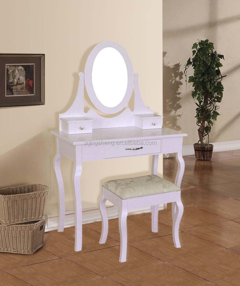Bianco specchiera trucco scrivania con sgabello 5 cassetti ovale camera da letto specchio chic - Specchio ovale camera da letto ...