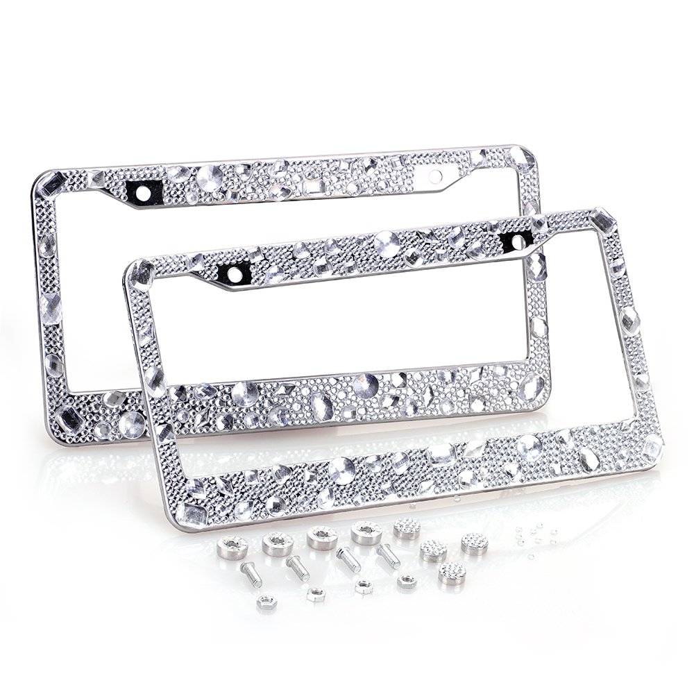 ZATAYE Bling License Plate Frame 2 Pack Luxury-2 Pure Handmade Waterproof Glitter Rhinestones Diamond Crystal License Frames Plate for Both Front and Back License Tag