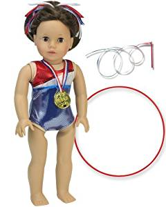 Doll Gymnastic Outfit Set for 18 Inch Dolls. 5 Pc. Set Fits American Girl Dolls & More! 18 Inch Doll Red, White & Blue Gymnastic Leotard, Medal, Hair Piece, & Two Rhythmic Gymnastic Accessories by Sophia's