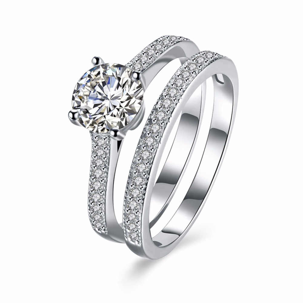 925 Sterling <strong>Silver</strong> Factory High Quality Pave CZ Stone Ring Set For Women