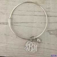 Semi-precious Pearl Stone Personalized Clear Acrylic Charm Bracelet
