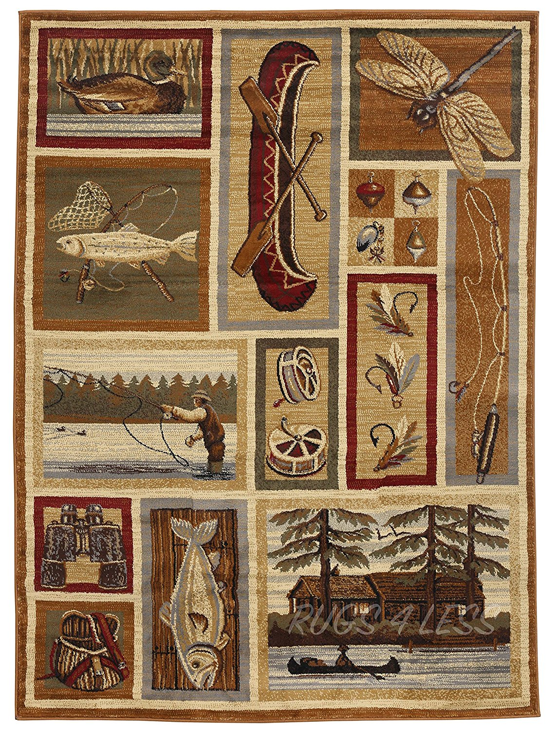 Rugs 4 Less Collection Wilderness Nature Themed Cabin Lodge Style Area Rug Design R4l 762