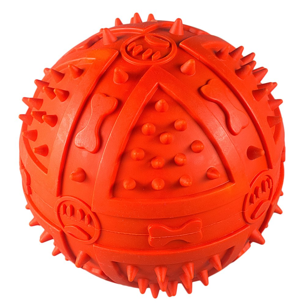 Dog Toys Balls, Dyalis Dog Squeak Ball, Nature Rubber Dog Chew Toy, Durable Dog Toy-3.54 Inch
