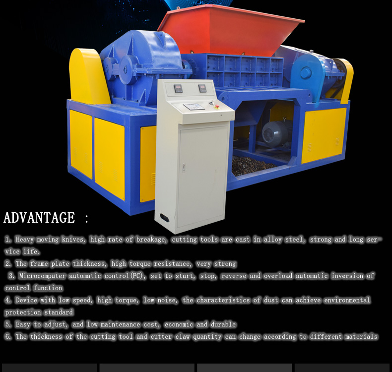 Gerecycled plastic crusher Industriële schroot type dubbele as mini plastic shredder