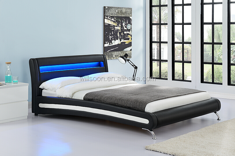 Modern Bed Design Headboard Led Double King Size Pu Leather Frame 1884 1