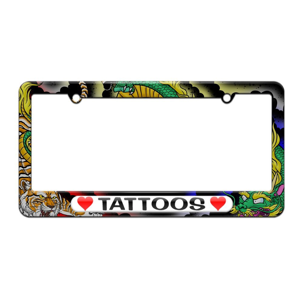 Buy Graphics and More Tattoos Love with Hearts - License Plate Tag ...