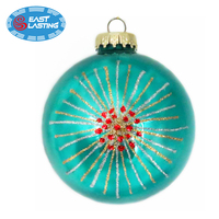 Mirror Effect blue hanging ornaments glass ball personalized Chriastmas ornament for decoration