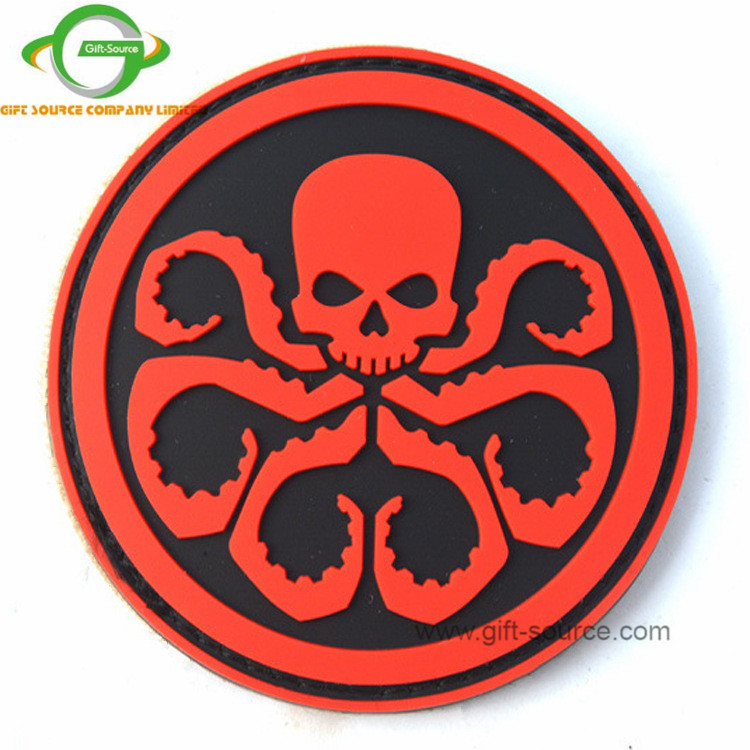 High Quality Custom Hoop&Loop Backing  octopus zombie outbreak Rubber PVC Patch
