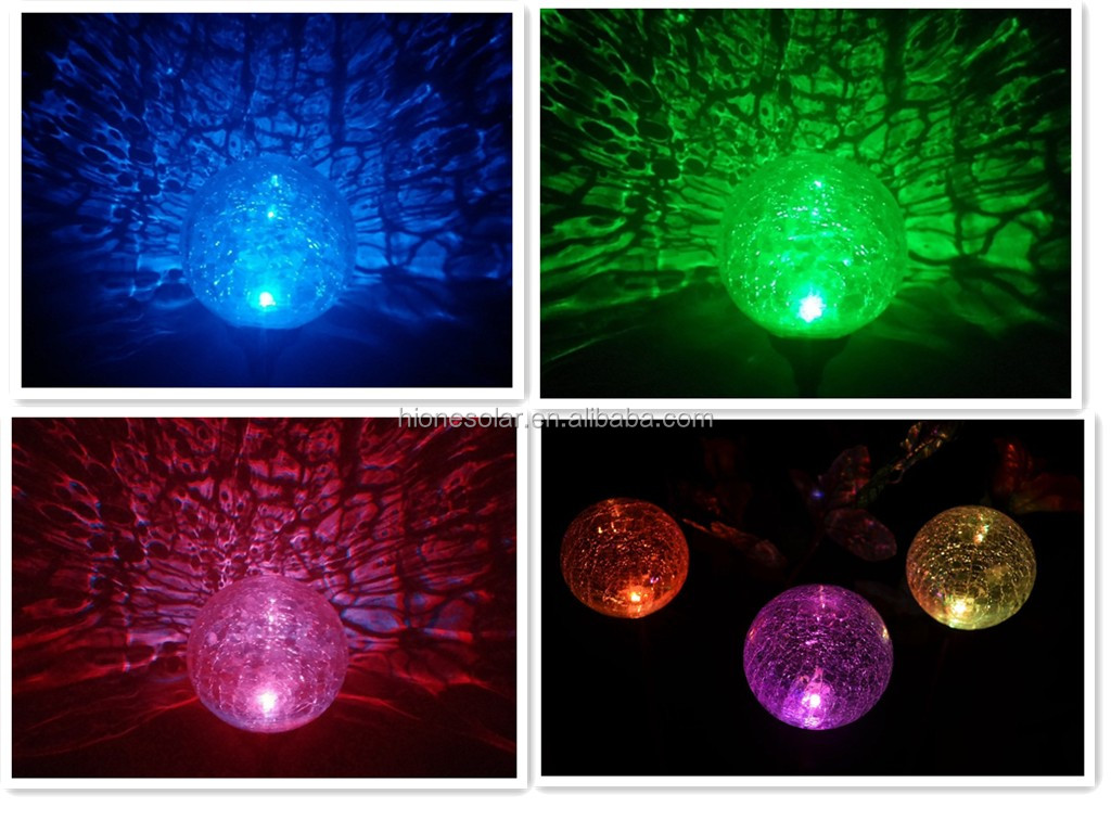 High Quality Solar Garden Stake Light Yard Metal Butterfly Dragonfly Ladybug Glass  Crackle Ball Solar Light