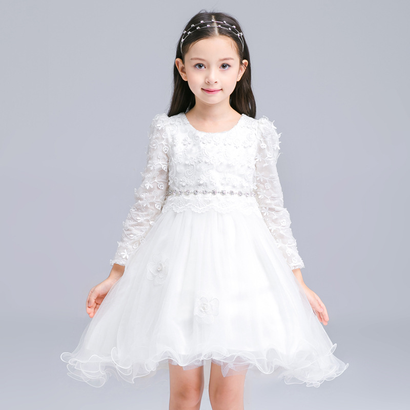 S32133W Girl Party Dress 2016 New Tulle Flower Girl Dresses White Lace Long Sleeve Kids evening Gown