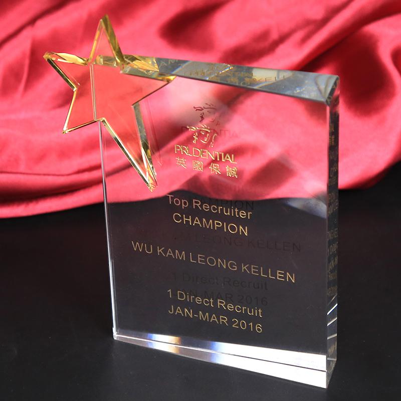 Wholesale Good quality different shapes crystal trophy with led base for souvenir etched logo Dubai market best seller