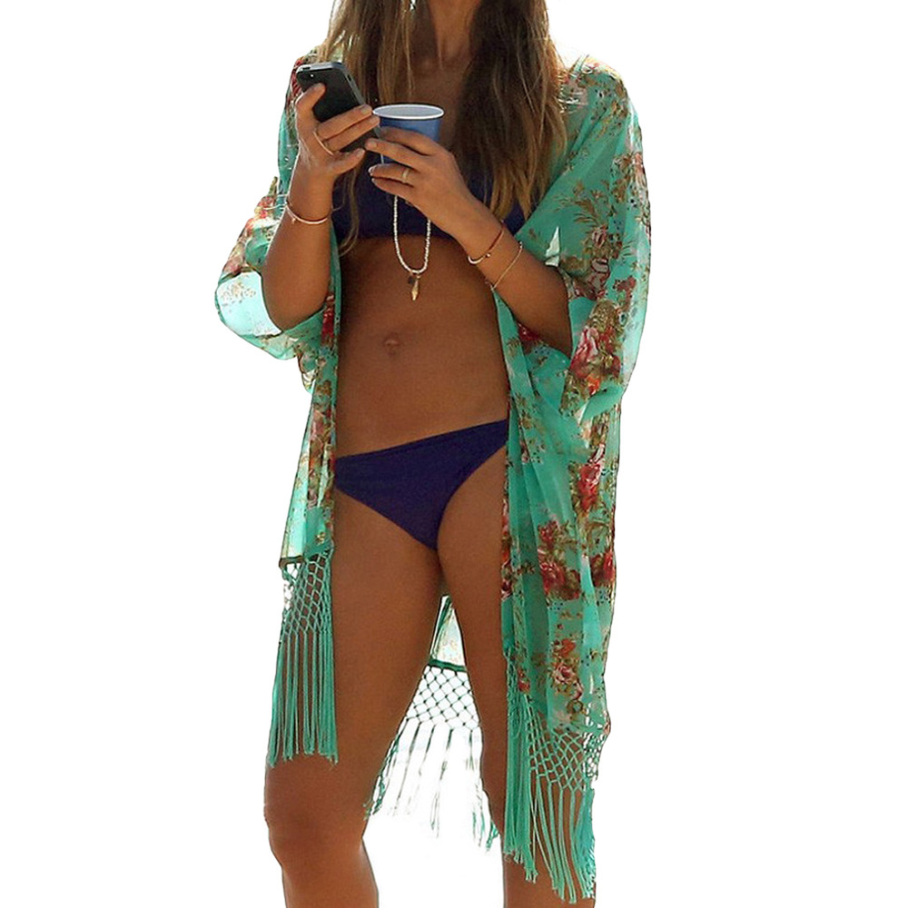0a1b860fe1e Get Quotations · Bingo Sexy Women Bikini Cover Up Floral Print Tassels  Chiffon Semi-sheer bathing suit cover