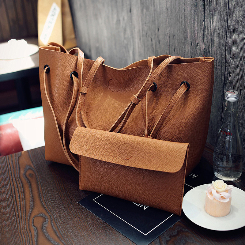 2017 Wholesale lady bags women handbag 2 pcs sets bag wholesale women tote bag