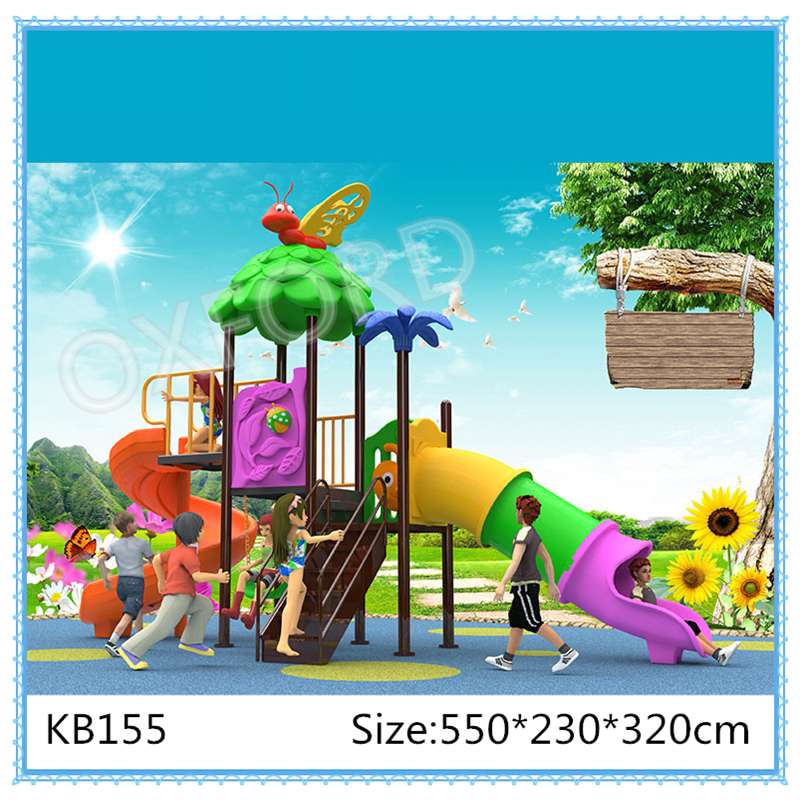 Amusement park slide unit kindergarten children play outdoor plastic slide KB155