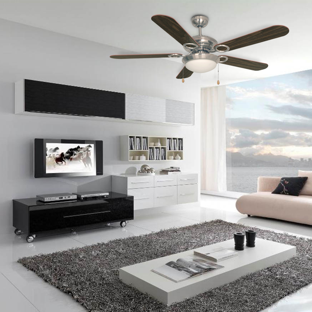 UL modern style 50w 5 Plywood Blades ceiling fan with light suspended indoor led ceiling fan light